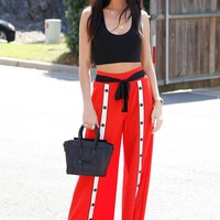 Track Star Snap Button Pants - Red