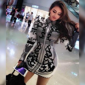 Sexy High Neck Long Sleeve Mini Tattoo Printed Dress