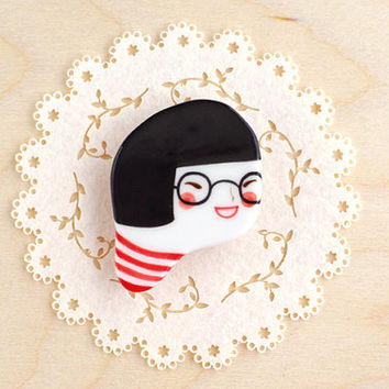minini hand painted porcelain brooch pin unique jewelry by min lee 12027