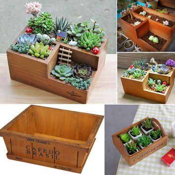 Wooden Flower Pots for Succulent Plants Nursery Garden Planter Window Box Flower Trough Pot Plants Garden Supplies