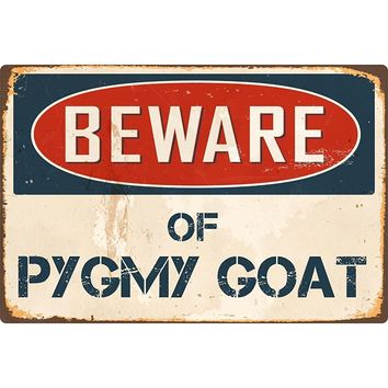 "Beware Of Pygmy Goat 8"" x 12"" Vintage Aluminum Metal Sign"