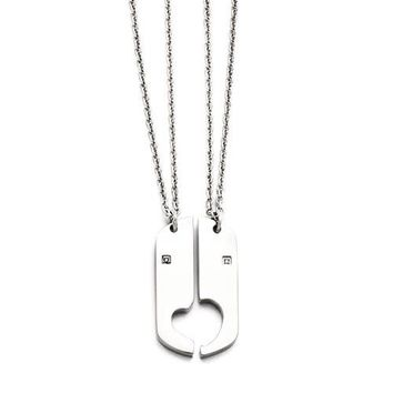 Stainless Steel Polished 2 Half Hearts CZ Couples or Friendship Necklace Set