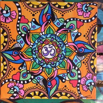 Om Art, Hippie Art, Mandala Art, Painted canvas, Yoga art, buddhist art, Singleton art, Yoga studio, meditation art, om symbol, ohm art