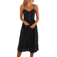 Black Button Down Fit-and-flare Daily Dresses