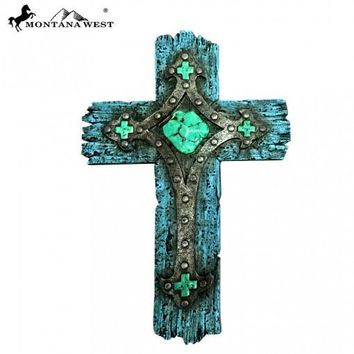 Montana West Rustic Turquoise Resin Texture Wall Cross