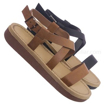 Upraise32 Soft Comfortable Foam Padded Sandal - Women Strappy Cage Flatforms