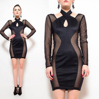 80s 90s Black Stretch Sheer Mesh Cut Out Avant Garde Futuristic Sexy Bodycon Party Mini Dress S M