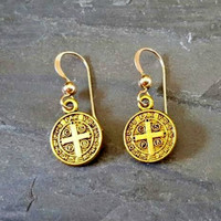 Gold Coin Cross Earrings, Antique Gold, St. Benedict, Religious Medal