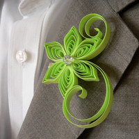 Chartreuse Boutonniere, Yellow Green Buttonhole, Chartreuse Wedding Boutonniere, Mens Wedding Boutonnieres