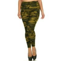 Leggings for Women Camouflage Army Green: OS/PLUS