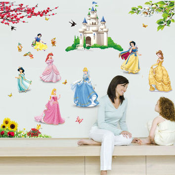 Hot Sale Princess Wall Stickers Girl children kids bedroom home decor wall decals 5102 wallpaper princess home decoration