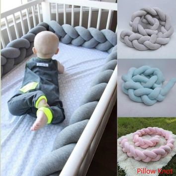 1M/1.5M/2M/4M New Popular Crib Bedding Braided Crib Bumper  Baby Bedding Baby Sheets Bolster Pillow Knot Pillow