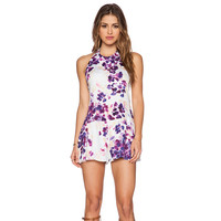Purple Floral Print Halter Backless Romper