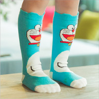 Baby Kids Girls Children's Cute Princess Stripes Cat Japanese Cartoon doraemon Pattern Knee High Socks for child boys brand