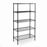 Seville Classics 60 in. H x 14 in. W x 30 in. D 5-Shelf Home Wire Shelving System in Black-SHE14309B - The Home Depot