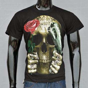 New Arrival 2014 Europe Style Rose Skull 3d Printed Men T Shirt Five Size M-XXXL Short Sleeve 100% Cotton Casual Shirt T017