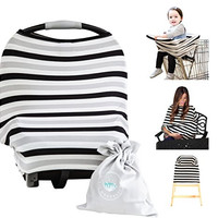 Baby Car Seat Cover Canopy | Nursing Cover (Multi-Use 4-1 Stretchy) Infinity Nursing Scarf | Grocery Shopping Cart Cover | High Chair Covers (Black Grey Stripe) Unisex Baby Shower Gift