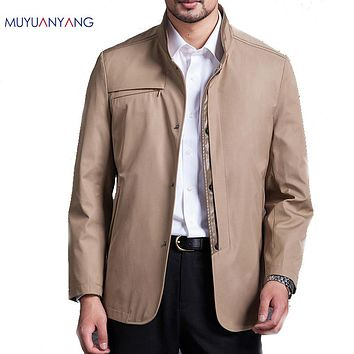 New Fashion Men's Trench Coats Male Overcoats Standing Collar Trench Windbreaker For Man