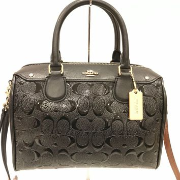NWT! Coach Black Debossed Patent Leather Mini Satchel Crossbody Bag F11920