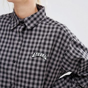 Lazy Oaf Shirt Smock Dress In Gingham With Bored Slogan at asos.com