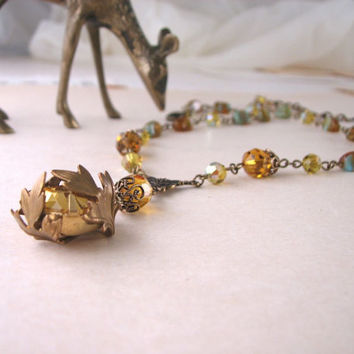 Topaz necklace with Czech glass beads autumn by shadowjewels