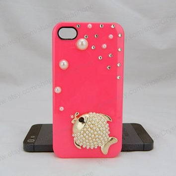 Fish case  bling iphone 6 case iphone 6 case iphone 5S 5c iphone 4 case samsung galaxy s4 case note3 s3 case bling crystal