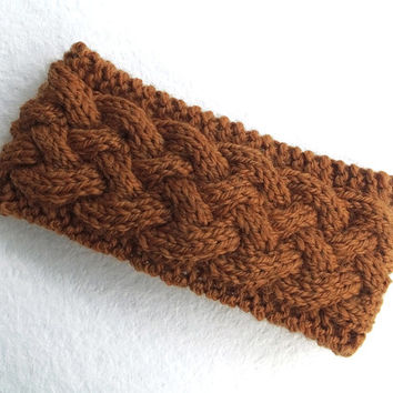 Women Knitted Headband in Deep Ochre Brown,Handmade Headband,Turban,Women Warm Head Wrap,Winter Hair Band,Knit Women Accessory,FREE SHIPPING