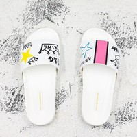 Dolce & Gabbana Graffiti Printed Slide Sandals Slippers - Best Deal Online