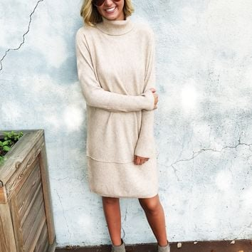 Marissa Sweater Dress - Tan