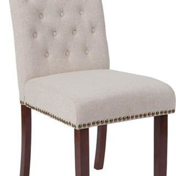 HERCULES Series Beige Fabric Parsons Chair with Rolled Back, Accent Nail Trim and Walnut Finish