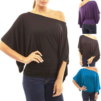 Womens Kimono Sleeve One Shoulder Top Shirt Blouse Cocktail Clubbing Party Tops