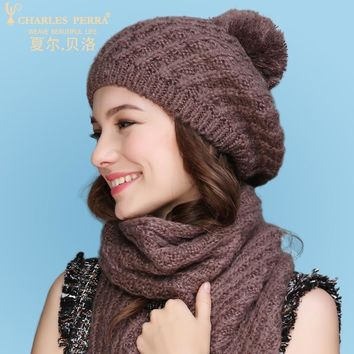 Fashion Two-Piece Sets Hats Scarf Women Winter New Knitted Hats Fashion Elegant Casual Warm Beret Style Female Beanies 2321