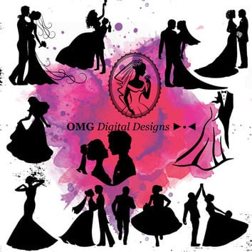 12 Wedding Digital Clipart, Clipart Design Elements, Instant Download, Black Silhouette Clip art