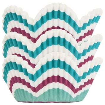 Aqua Plum Scalloped Stripe Baking Cups