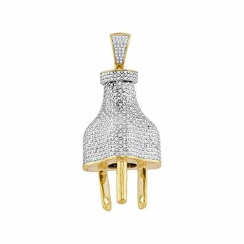 10kt Yellow Gold Men's Round Diamond Power Plug Charm Pendant 1-1-6 Cttw - FREE Shipping (US/CAN)