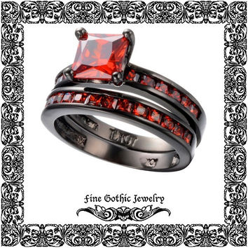 Gothic Engagement Ring Set | Steampunk Wedding Ring Set | Princess 1Ct Red Cubic Zirconia Black Gold Filled Ring Set Size 6 7 8 9 10 #220