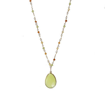 Multi stone and Green Chalcedony Wirewrapped Bead Necklaces - Layered Gemstone Necklace