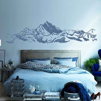 mountain Wall Decals Snowy Mountain Range Wall Art Nature wall art Mountain wall art Large Wall Decal Wall Stickers for Bedrooms kik3425