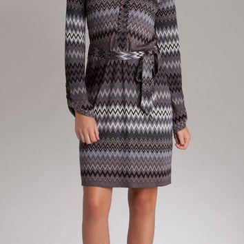 Black Zig Zag Jacquard Knit Dress