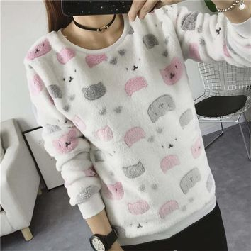 Women's Kitty Cat Print Harajuku Soft Sweatshirt Pullover Top