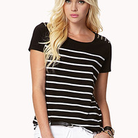 Spiked Shoulder Striped Tee