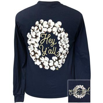Girlie Girl Originals Preppy Hey Yall Cotton Long Sleeve T-Shirt
