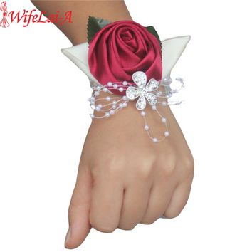 100% Handmade Wine red Crystal Bouquet Corsage Diamond Satin Rose Flowers for Wedding Bride Wrist Flowers Boutonniere SW0677Y