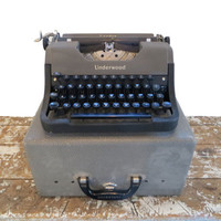 Vintage Portable Typewriter Underwood Leader Typewriter Black Typewriter