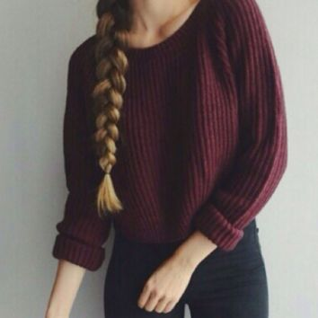 Long Sleeve Loose Sweater  B0015546