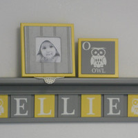 "Owl - Baby Nursery Room Decor, Personalized Name Shelves, Block Tiles Custom for ELLIE with Owls, 7 Yellow and Gray Plates on 30"" Grey shelf"
