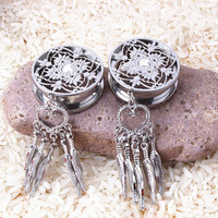 316L Stainless Steel DreamCatcher Dangle Screw Ear Plug Gauge Tunnel Body Ear Expander Piering Jewelry