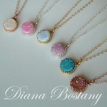 SALE Rose Gold Druzy Necklace in Crown Setting, 14K Rose Gold fill, Colors White Pink Sky Lavender Teal Dark Orange