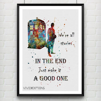 Quote from Tardis Doctor Who Poster, Watercolor Art Print, Children's Wall Art, Minimalist Home Decor, Not Framed, Buy 2 Get 1 Free! [No 04]