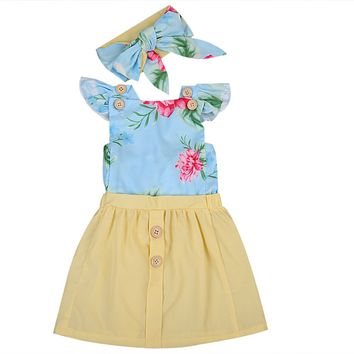 Newborn Infant Baby Girl Floral Dress +headband Ruffle Sleeve little Kids Girl Back Cross Dress Sundress